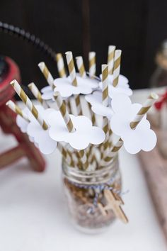 Striped paper straws with cloud toppers from a Vintage Airplane Birthday Party on Kara's Party Ideas | KarasPartyIdeas.com (77)