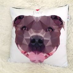 Decorative Pillow I love Staffordshire Bull Terrier by PSIAKREW on Etsy
