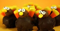 Brownie Ball Turkeys....gobble, gobble, these are way too cute!