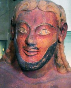 STANDART ETRUSCAN MAN WITH POINTED BEARD AND LONG HAIR DEPICITED IN ETRUSCAN ART: Sarcophagus of the Spouses, detail with man's head ETRUSCAN