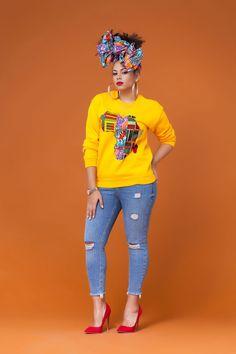Yellow African Print Sweatshirt