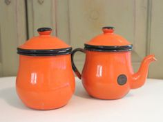 Vintage Asahi Japan Teapot Sugar Bowl Enamelware or Creamer Sugar Set Orange Pitcher and Cup Kitchen Dining Severing Decor Planter Vase by IguanaFindIt on Etsy