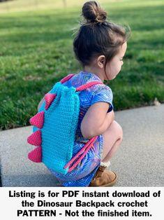 Easy Crochet Dinosaur Backpack- Simple Free Pattern With Video - Free Crochet Pattern Crochet Round, Bead Crochet, Cute Crochet, Crochet Hooks, Crochet Baby, Crochet Geek, Crochet Dinosaur Patterns, Easy Crochet Patterns, Crochet Patterns Amigurumi
