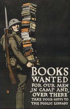 Books Wanted, WW I Poster, USA, 1918 (made). Charles Buckles Falls (1874-1960). American Association of Libraries (printers and publishers). Colour lithography  This appeal emphasized the bond between the home front and front line. It offered people at home a means of supporting their soldiers. Falls prepared the design within a day and it boosted his reputation as well as succeeding in its purpose of collecting reading material for the troops.