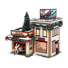 """Department 56: Products - """"Harley-Davidson® Detail Shop"""" - View Lighted Buildings"""