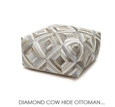 Stunning Argentinean Cow Hide Ottomans pieced together forming the Diamond pattern at the General Store Furniture Co