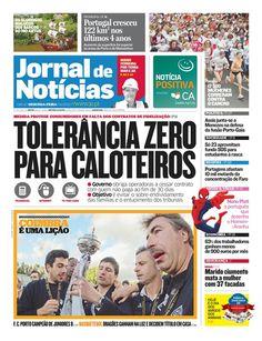 Capa do JN desta segunda-feira, 21 de maio. Destaque para a vitória da Académica na Taça de Portugal.