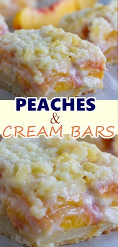 Peaches and cream bars - a perfect summer dessert! Ww Recipes, Sweet Recipes, Baking Recipes, Cookie Recipes, Dessert Recipes, Skinny Recipes, Recipies, Fruit Deserts Recipes, Fruit Dips