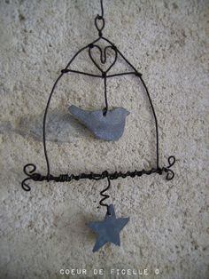 Création #coeurdeficelle / cage à oiseaux en fil de fer / #Déco / #Fildefer