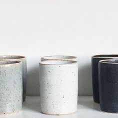"""ceramic cups / kitchen """"Stoneware tumblers for inconspicuous whiskey drinking available in time for thanksgiving Handmade in our stoneware white, matte black & celadon sage. Ceramic Plates, Ceramic Pottery, Ceramic Art, Pottery Pots, Keramik Design, Kitchenware, Tableware, Whiskey Drinks, Pottery Classes"""