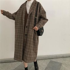 Cool Outfits, Casual Outfits, Fashion Outfits, Womens Fashion, Plaid Coat, Aesthetic Clothes, Korean Fashion, Clothes For Women, My Style