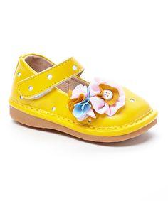 Look what I found on #zulily! Yellow Polka Dot Elizabeth Squeaker Mary Jane #zulilyfinds