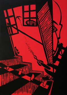 """""""Reminiscence D"""" (from """"Reminiscences of My Inspirations"""" series), linocut on paper, 30x42cm, 2011"""