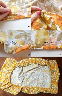 Easy fitted sheet instructions. Make fitted from a flat sheet. I am thinking about making cushion covers this way for my much-loved (think Velveteen-Rabbit-loved! lol!) sofa but out of much-laundered canvas tab top drapes that I no longer need for windows. hmmmm... ~ <3 ~