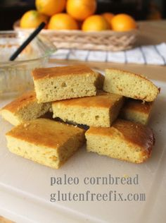 "Gluten and Grain Free ""Corn""bread 1/4 cup melted butter 2 tablespoons honey 3 eggs 3/4 cup almond flour, firmly packed 1/4 teaspoon kosher ..."