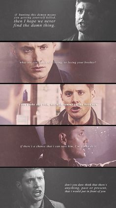 [SET OF GIFS] Salvation, Two Minutes to Midnight, As Time Goes By, Sacrifice. It makes me sad that Dean always no matter what happens protects Sammy with everything he has but Sam just left Dean in purgatory. He didn't even try to save his brother. Sam And Dean Winchester, Sam Dean, Winchester Brothers, New Quotes, Family Quotes, Qoutes, Funny Quotes, Supernatural Dean, Supernatural Fandom