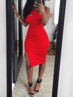 Solid One Shoulder Cutout Slit Bodycon Dress Classy Sexy Outfits, Elegant Dresses Classy, Classy Dress, Classy Style, Mode Outfits, Dress Outfits, Girl Outfits, Fashion Outfits, Look Fashion