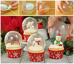 These gorgeous Snow Globe Cupcakes are topped with edible gelatin bubbles. They look amazing and so impressive! Learn how to make perfect gelatin bubbles. Christmas Goodies, Christmas Candy, Christmas Treats, Christmas Baking, Christmas Time, Christmas Parties, Snow Globe Cupcakes, Globe Cake, Christmas Cupcakes