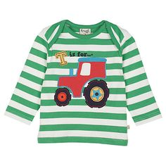 £18 Buy Frugi Baby Bobby Tractor Striped T-Shirt, Green/White Online at johnlewis.com
