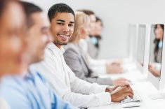 Large group of business people on a computer class. stock photo