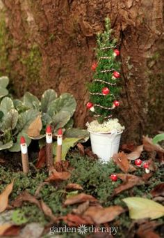 Miniature Gnome Christmas Tree and Twiggy Gnomes