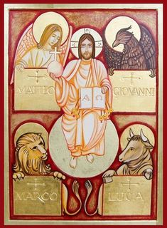 Symbols of the Four Evangelists with Jesus (Alpha and Omega), Matteo, (St. Matthew) Giovanni (St. John), Marco (St. Mark), and Luca (St. Luke)