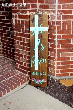 c He Is Risen Porch Sign, Tall Porch Sign, Easter Porch Sign, Reversible Sign, Customizable Porch Si Easter Projects, Easter Crafts, Easter Decor, Easter Ideas, Pallet Crafts, Wood Crafts, Pallet Art, Spring Crafts, Holiday Crafts