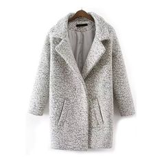 Lapel Edge Pockets Long Coat (60 CAD) ❤ liked on Polyvore featuring outerwear, coats, grey, lapel coat, longline coat, long coat, long grey coat and woolen coat