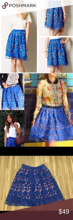 "Anthropologie Albastru Skirt by Eva Franco Albastru Skirt by Eva Franco Blue embroidered circular pattern. Size 4. VGUC-few loose threads. Nylon/Rayon/Spandex. Polyester/Spandex Lining. Side zip.  Approximate Measurements (laying flat): Waist: 14"" Length: 24.5"" Anthropologie Skirts A-Line or Full"