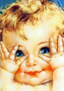 Vintage baby Peek-a-Boo illustration / lithograph.