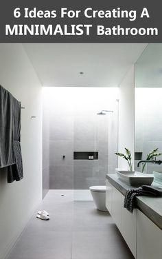 Small Minimalist Bathroom Design: 6 Ideas For Creating A Minimalist Bathroom Tiny House Bathroom, Laundry In Bathroom, White Bathroom, Bathroom Interior, Small Bathroom, Light Gray Bathrooms, Luxury Bathrooms, Master Bathroom, Bathroom Ideas