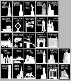 New York City Famous Landmarks Silhouettes Table Cards – White on Black Art Deco Urban Chic New York City Landmark Table Cards White on by [. New York Party, New York Landmarks, Famous Landmarks, Famous Buildings, Trump Tower, Madison Avenue, Chrysler Building, Bank Of America, Rockefeller Center