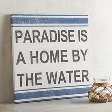 With nautical-inspired navy stripes on a white canvas background, it's time to hang this and drop anchor at your personal paradise—near the ocean, on a lake or at the river. Canvas Background, San Diego Living, Lake Signs, Water Art, Colorful Animals, Unique Wall Art, Coastal Art, Painted Signs, Paradise