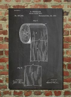 Toilet Paper Roll Patent 1891 Wall Art Poster perfect for the most important part of a mans home... his throne!