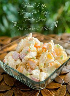 Ham, Egg, Cheese & Veggie Pasta Salad + 18 more salad recipes perfect for your next potluck!
