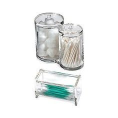 The Container Store > Acrylic Cotton & Swab Holders