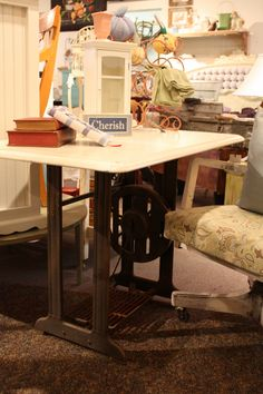 Look what you can do with old iron sewing base and vintage wood counter top.