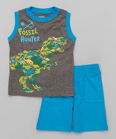 Another great find on #zulily! Blue 'Fossil Hunter' Tank & Shorts - Toddler & Boys #zulilyfinds