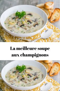 The best mushroom soup Best Mushroom Soup, Mushroom Soup Recipes, Veggie Recipes, Crockpot Recipes, Chicken Recipes, Polenta, Feta, Pot Pasta, Turkey Soup