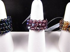 Seed Beaded Pearl Beaded Memory Wire Ring