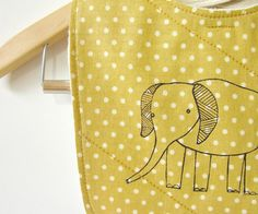 baby bib with polka dots and elephant print by downhomeamy on Etsy