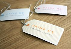 "These adorable ""Drink Me"" bottle tags were designed by Truly Smitten and featured on Marry You Me ! With sweet tag lines like ""I'm quite d. Drink Tags, Drink Me, Friday Drinking, His And Hers Rings, Engraved Wedding Rings, Free Christmas Printables, Free Printables, Event Company, Little Gifts"