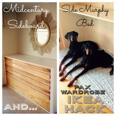 Ikea Pax wardrobe becomes side Murphy bed or dog bed. Diy twin Murphy bed that looks like a Midcentury side board or bar. Used as a dog bed for two large dogs. Super easy to recreate!