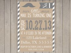 Moustache Little Man 1st First Birthday Boy by DesignOnPaper, $16.00