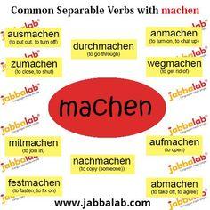 Common separable verbs with machen Study German, Learn German, Learn French, German Language Learning, Language Study, Dual Language, English Language, German Grammar, German Words