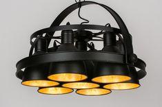 Stoer, stoerder, stoerst! Waanzinnige hanglamp die aan geen enkele aandacht zal ontsnappen! Deze hanglamp bestaat uit een metalen frame dat is uitgevoerd in een mat zwarte kleur. In het grote ronde frame worden zeven lichtbundels gebundeld en ontstaat er een geweldig mooi lichteffect. De zeven kappen zijn ook uitgevoerd in een mat zwarte kleur maar voorzien van een goudkleurige binnenzijde. Binoculars, Led, Modern, Design, Trendy Tree