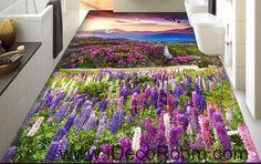 Sunset Mountain Purple Lavender Flowers 00087 Floor Decals 3D Wallpaper Wall Mural Stickers Print Art Bathroom Decor Living Room Kitchen Waterproof Business Home Office Gift