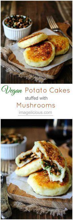 Kartoffeln. Pilze. Dill. Täschchen. Vegan.