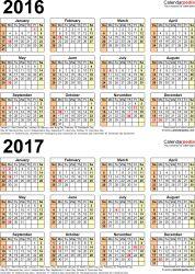 template 5 pdf template for two year calendar 20162017 portrait orientation