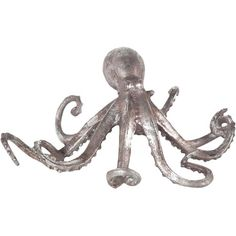 Coated in an aged pewter finish, this artful octopus statuette brings marine style to your decor.   Product: Statuette...